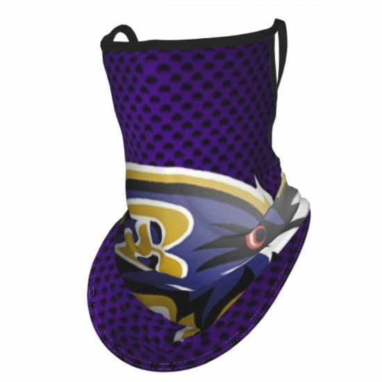 1 Pack NFL Baltimore Ravens Adult ear protection mask #302524 with Ear Loops Face Coverings